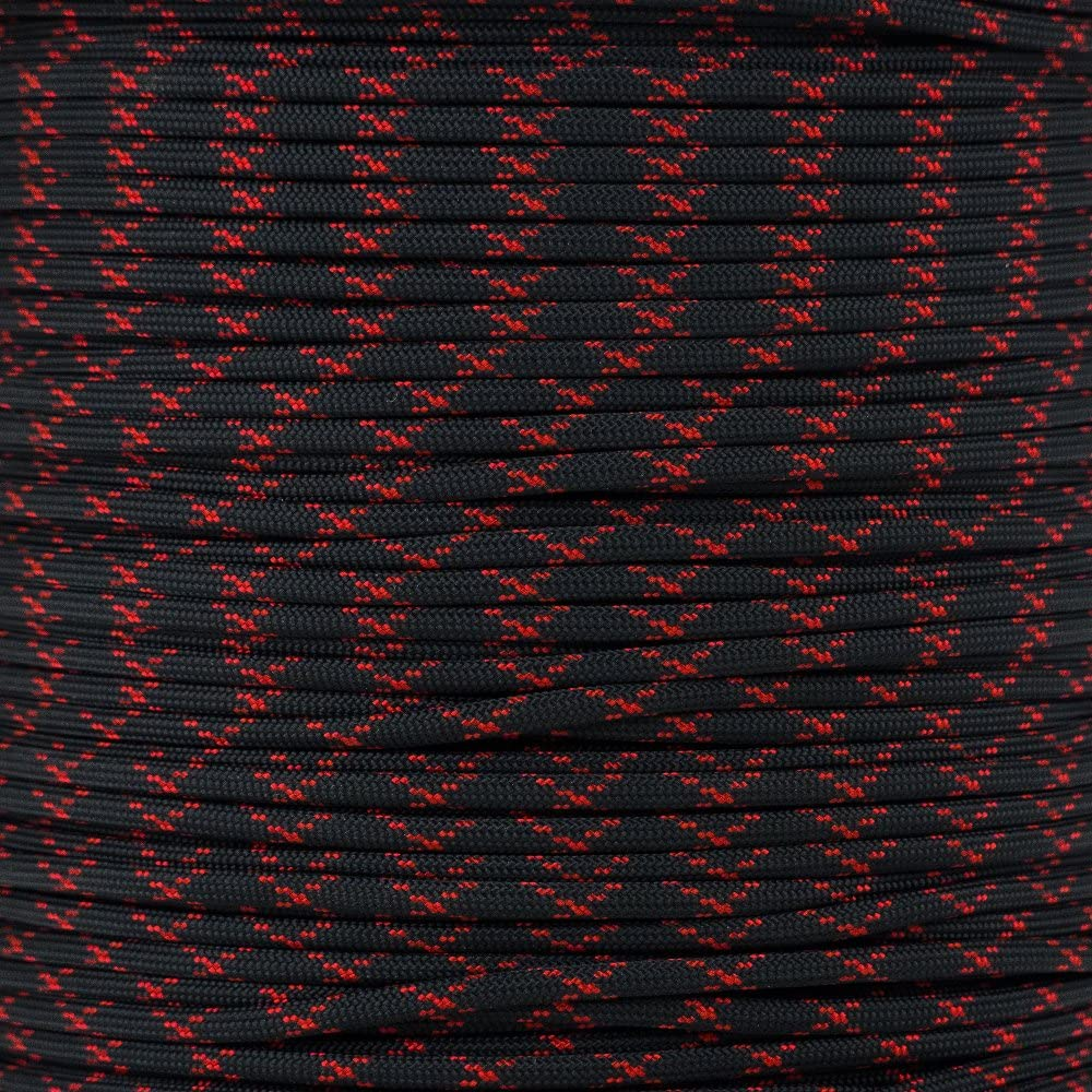PARACORD PLANET 10 20 25 50 100 Foot Hanks and 250 1000 Foot Spools of Parachute 550 Cord Type III 7 Strand Paracord (Black w/Imperial Red X 20 Feet)