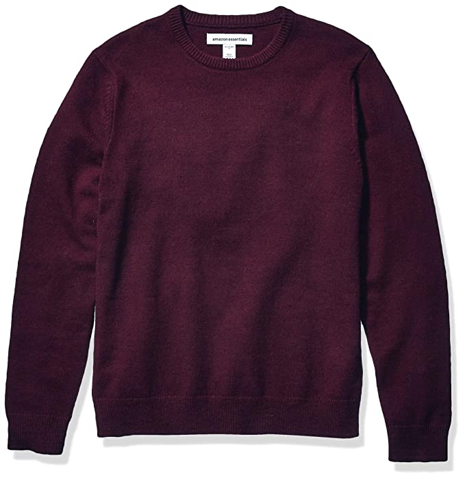 Amazon Essentials Men's Midweight Crewneck Sweater, Burgundy, Small best men's sweaters