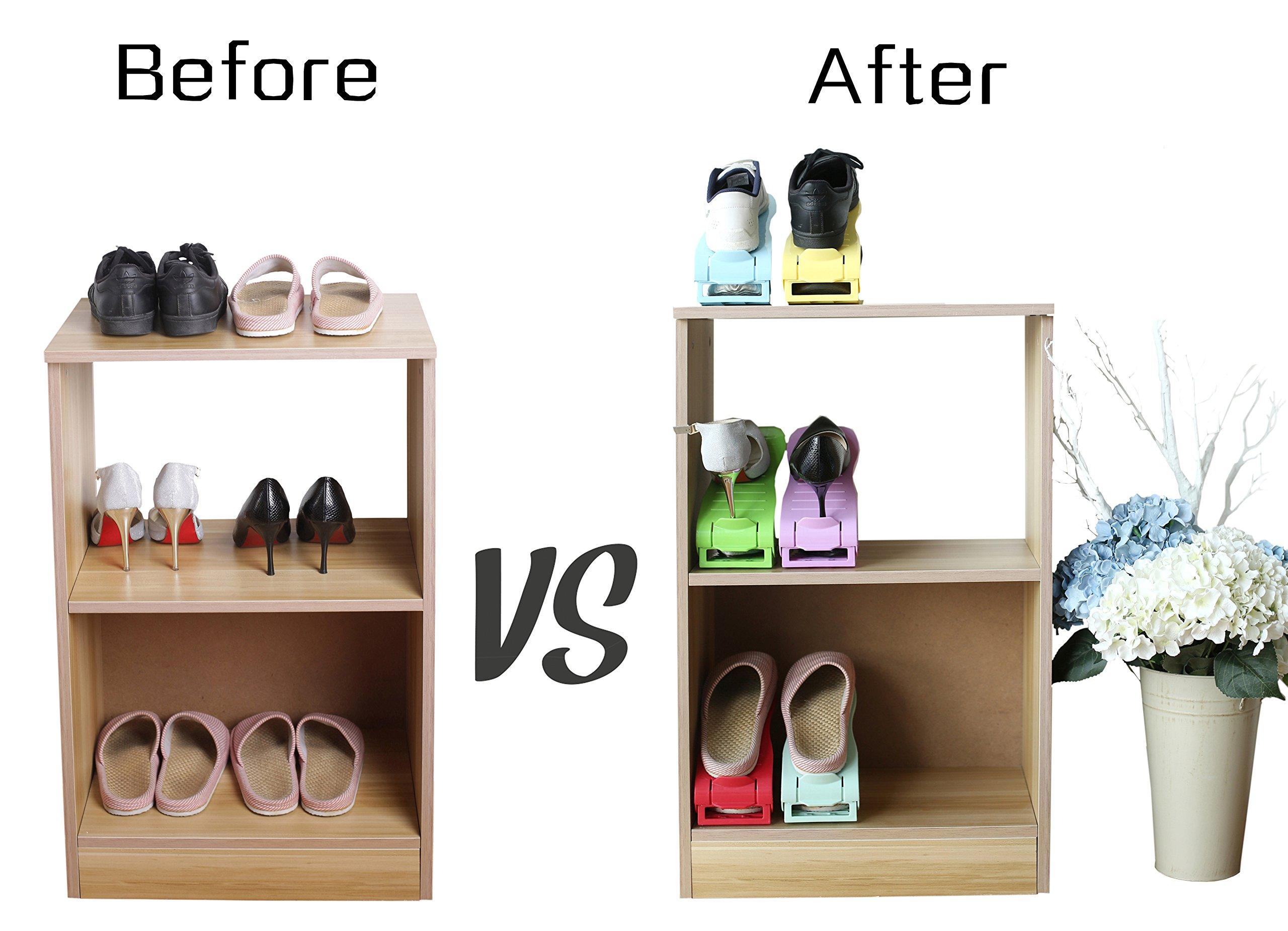 Mouselemur Shoe Slots Space Saver Shoe Stand Organizer | Adjustable Shoe Rack 6 Piece Set by Mouselemur (Image #7)