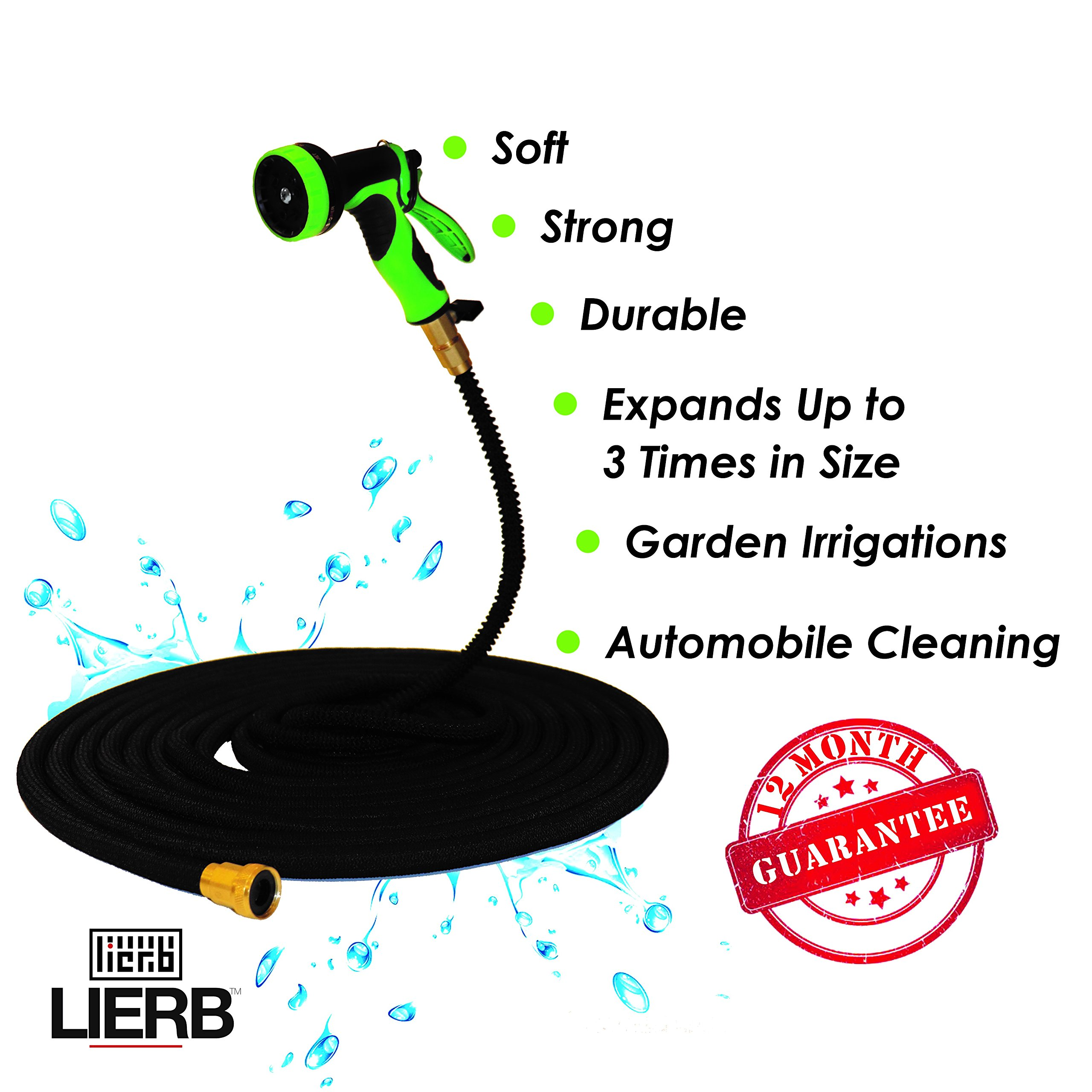 LIERB Expandable Garden Hose with Spray Nozzle Gun (50 ft) Heavy-Duty, Tangle and Kink Free Gardening Use | Water Plants, Lawn, Vegetables | Wash Cars, Pets, Driveways
