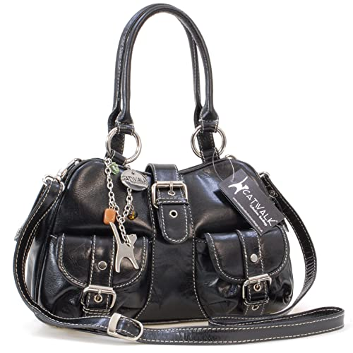 Catwalk Collection Handbags - Women s Leather Top Handle Shoulder Bag Cross  Body With Extra 835e52d51f142