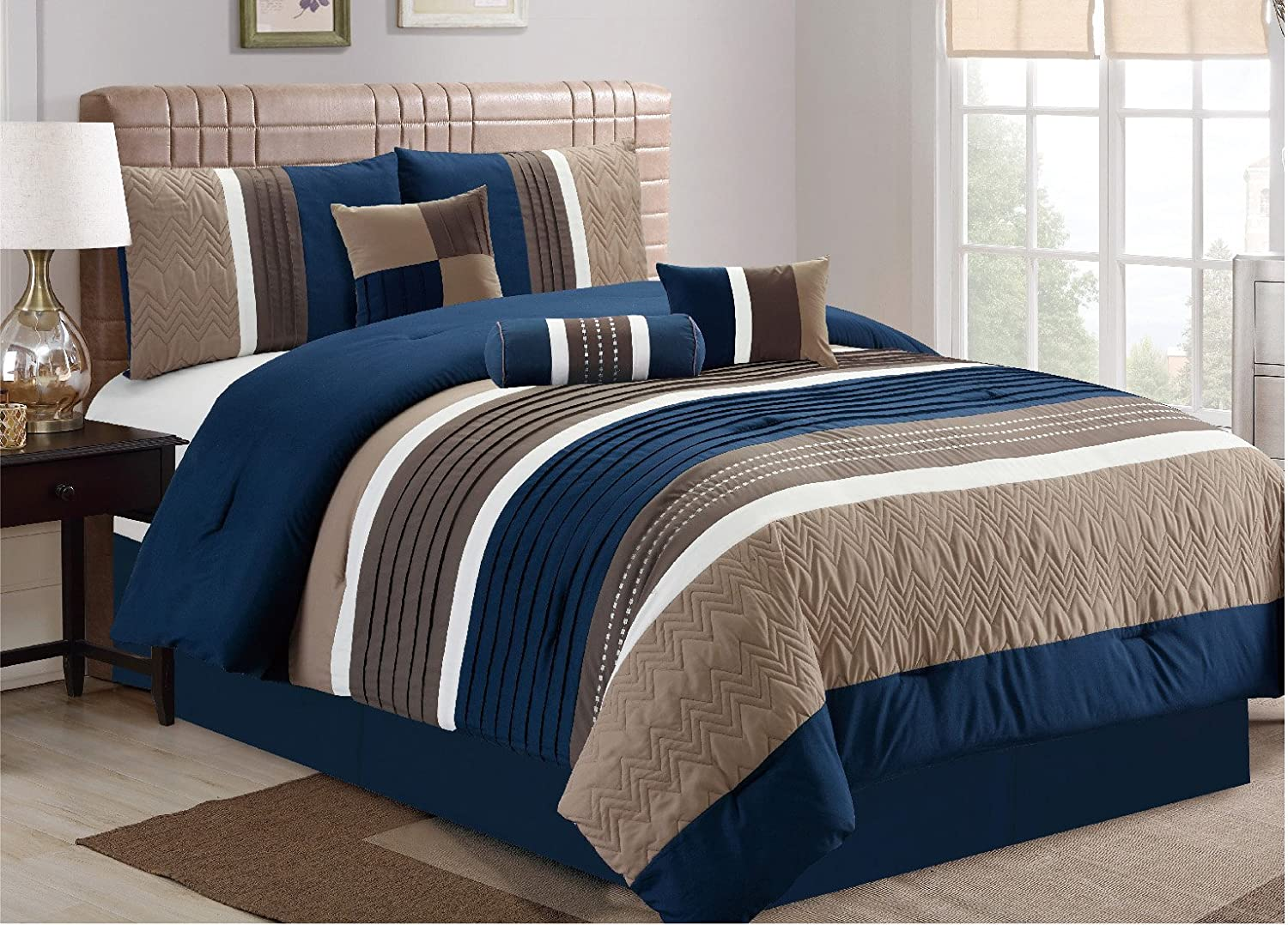 amazon com esca 7 piece closeout luxury bed in bag comforter set