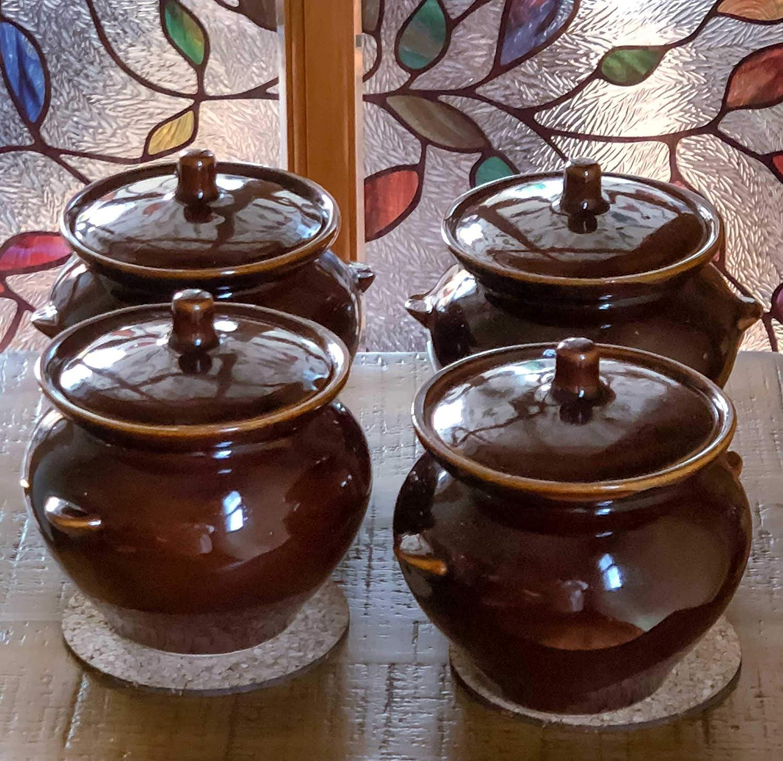 Bake & Serve 15 oz Ceramic Ramekin Bowl with Lid - set оf 4 - Country Kitchen Style Soup Stew Glazed Clay Pot Crocks - Oven