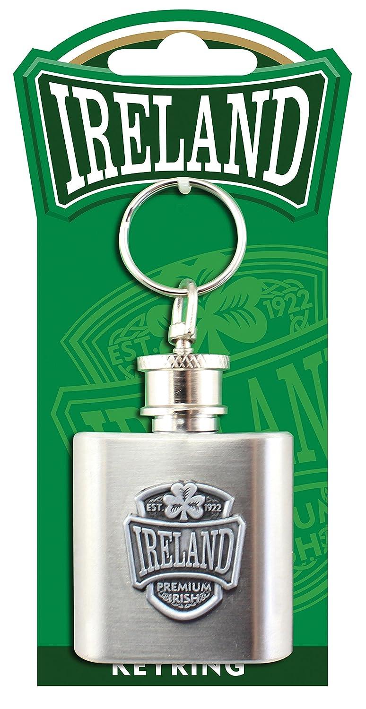 Mini Hip Flask Keychain With Ireland And Shamrock Logo
