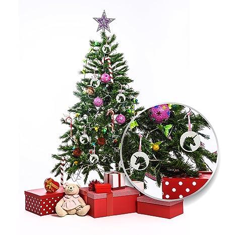 EinhornLiebe Unicornio Amor® Navidad Fieltro Colgante Unicornio 4 Unidades de 6 x 6 cm Color Blanco Decoración de Navidad: Amazon.es: Juguetes y juegos