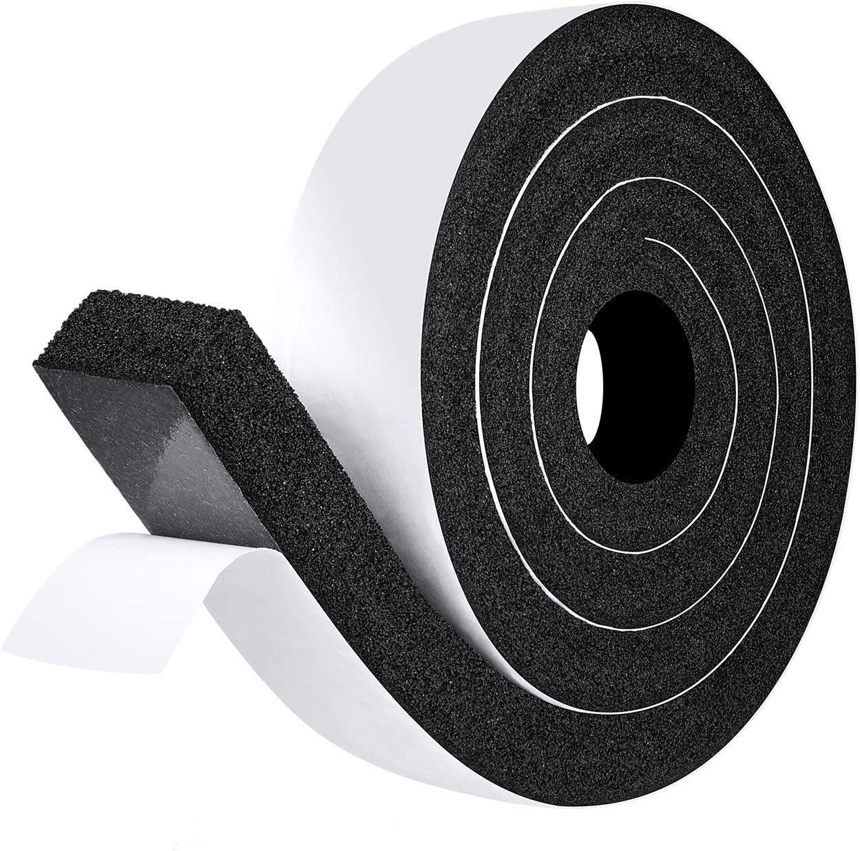 "fowong Air Conditioner Foam Gasket Seal, 2"" W X 1"" T X 6.5' L, Thick Window Insulation Seal Low Density Foam Strip Shock-Absorbing Anti-Vibration, 1 Roll X 6.5 Ft"