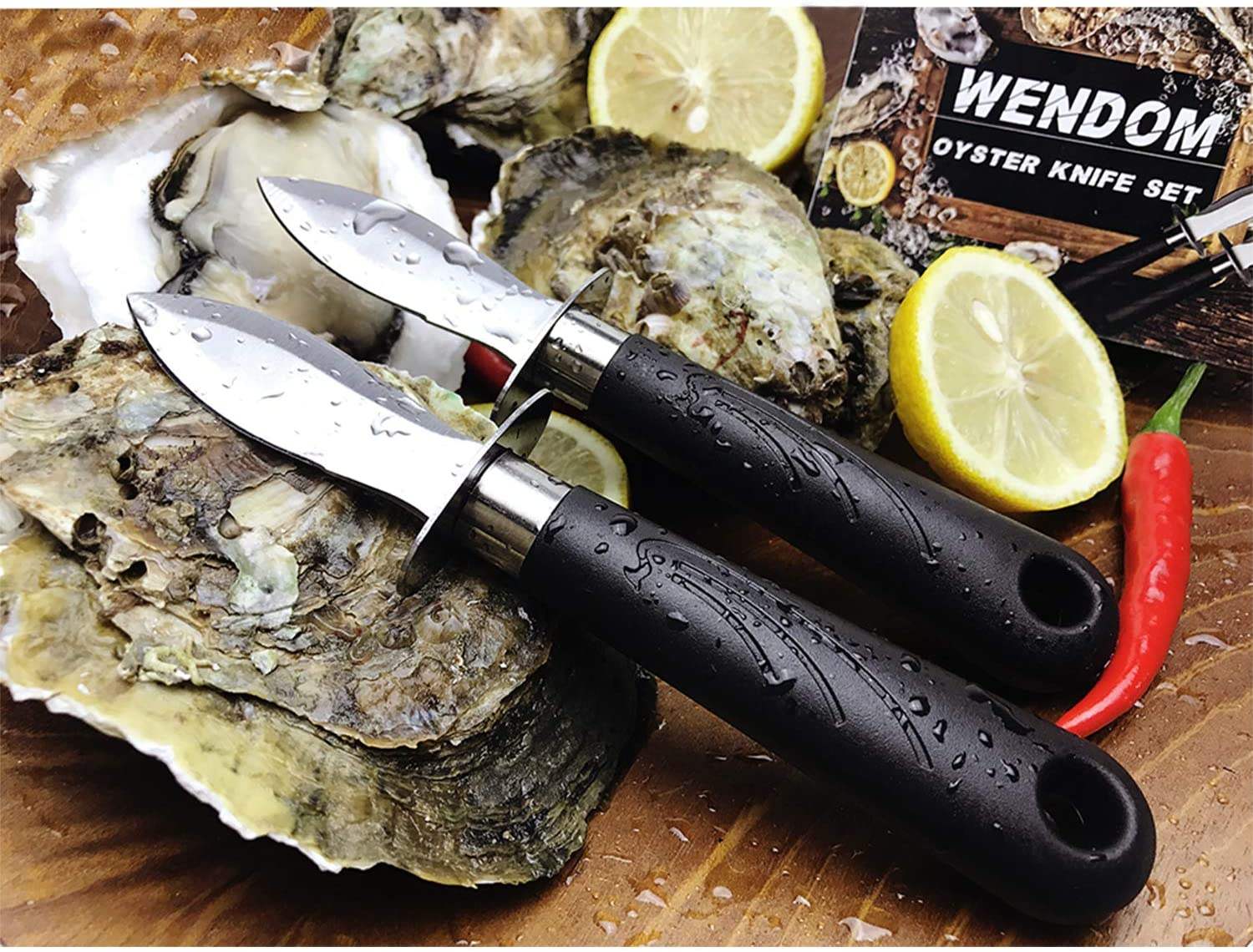 WENDOM Oyster Knife Shucker Set Including two Oyster Knives and one piece glove