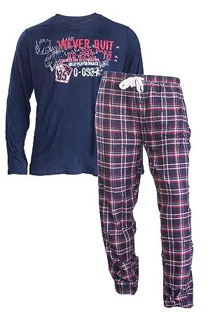 54ac232d4dabfb Livergy Herren Flanell Pyjama Schlafanzug Nachtwäsche Oberteil + Hose (L  52/54, Blau