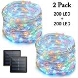 Vmanoo LED String Lights, 72 Feet 200 LED Solar Powered Copper Wire Starry Rope Xmas Lights, Indoor Outdoor Lighting for Garden Party Path Lawn Wedding Christmas, DIY Decoration, 2-PACK (Multi-color)