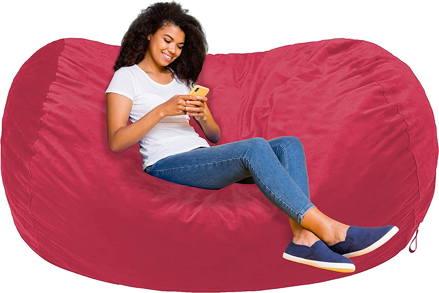 AmazonBasics Memory Foam Filled Bean Bag Lounger with Microfiber Cover - 6', Pink