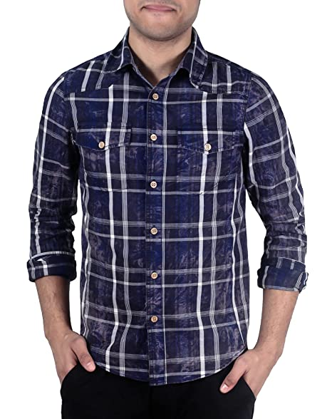 e18581fd35 Slim Fit Acid Wash Plaid Shirt from X-Ray Jeans at Amazon Men's ...