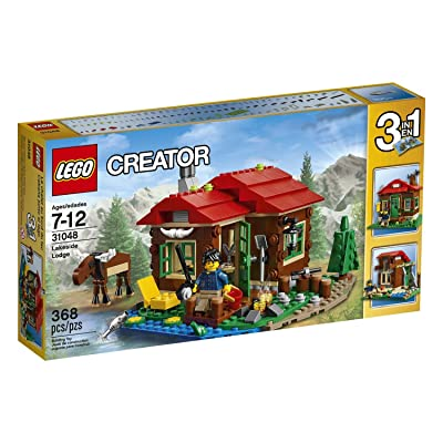 368 Pieces, 3-in-1 Lakeside Lodge Building Set: Toys & Games