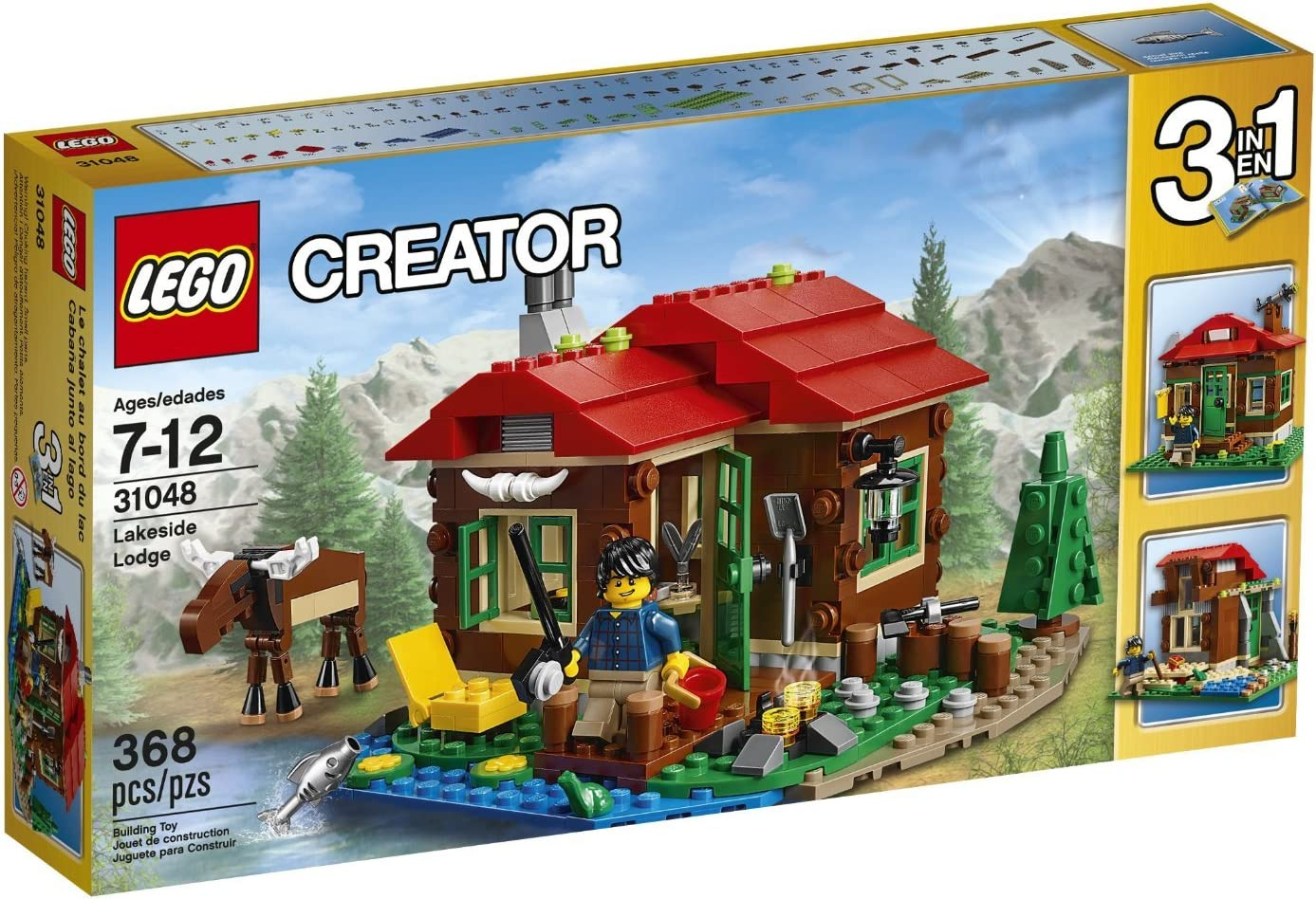 368 Pieces, 3-in-1 Lakeside Lodge Building Set