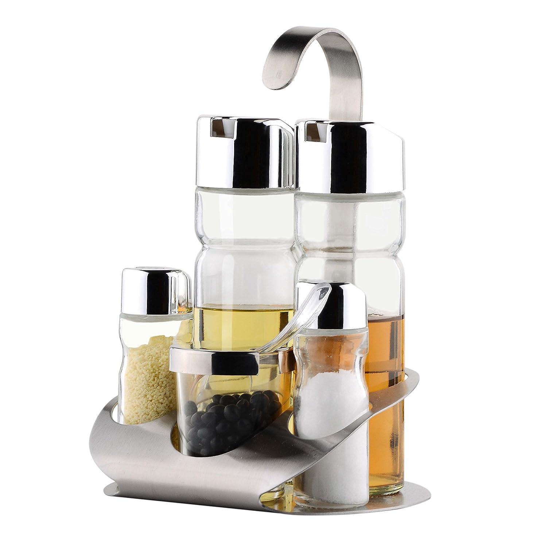 OKOMATCH - Soporte para especias (acero inoxidable, con 5 botellas de cristal vacías, incluye dispensador de aceite de oliva/vinagre, cucharada/salero y ...