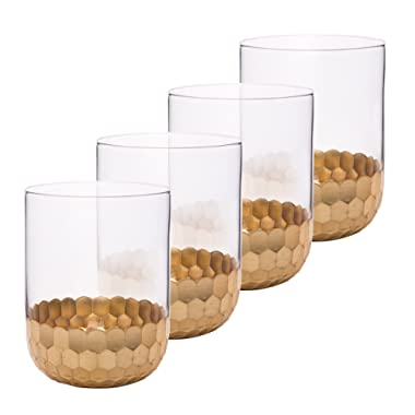 Drinking Glasses Tumblers Cups 4 Pack, Premium Drinkware Set Gold Plated, Party Gifts