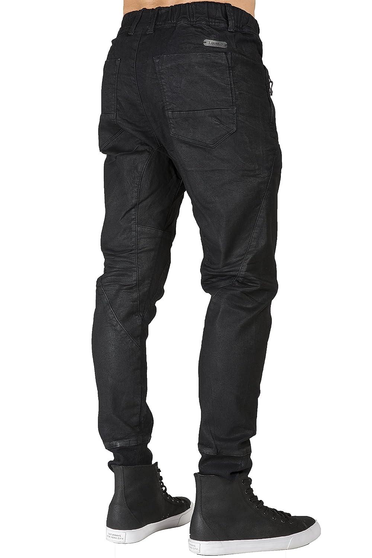 Level 7 Mens Premium Knit Denim Jogger Jeans Drop Crotch Black Coated Whisker