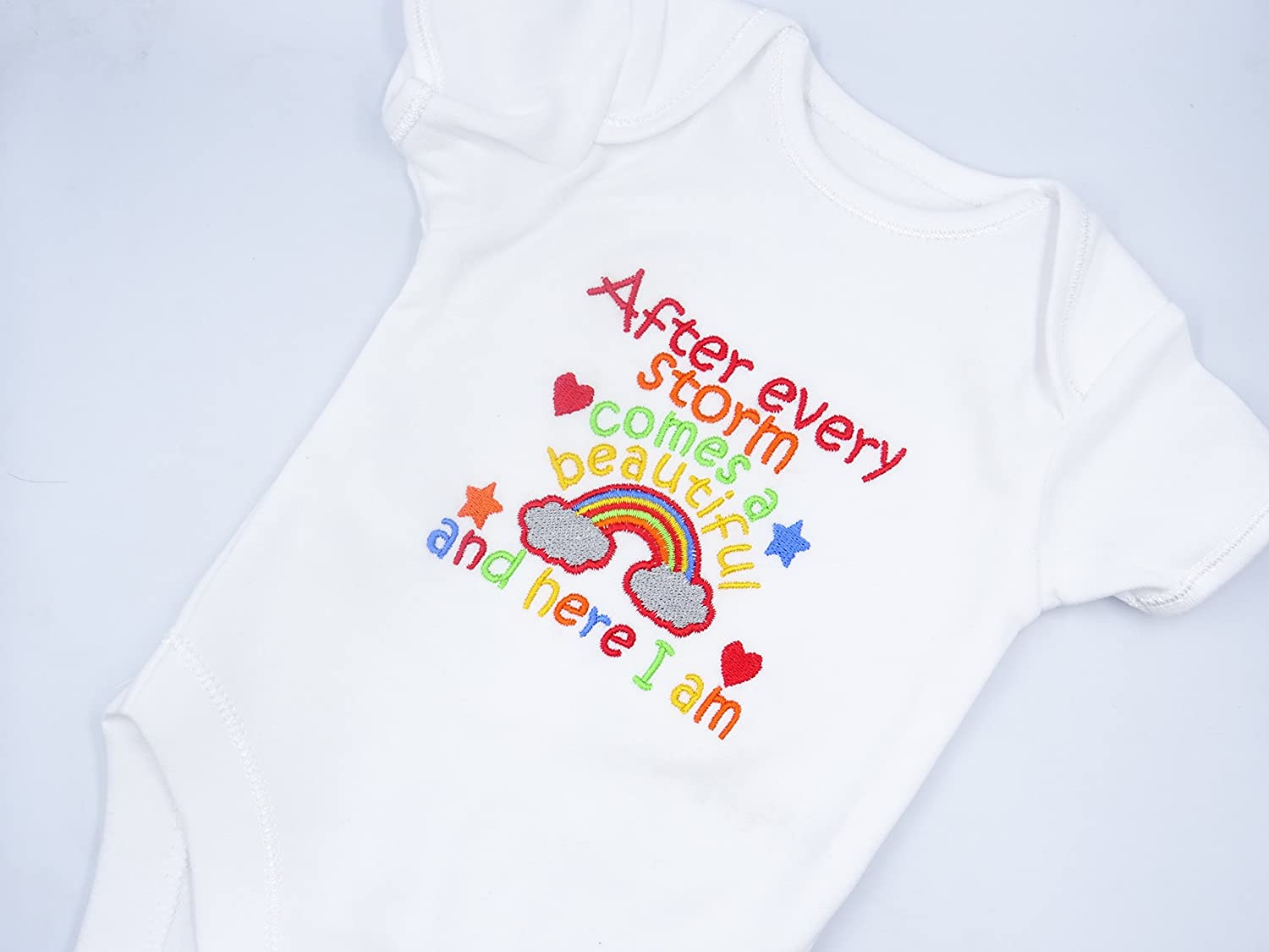 5cbd41b62 Personalised Embroidered Baby Vest Bodysuit - RAINBOW BABY - AFTER EVERY  STORM COMES A BEAUTIFUL RAINBOW AND HERE I AM - Any Colours If Required  Blues Pinks ...