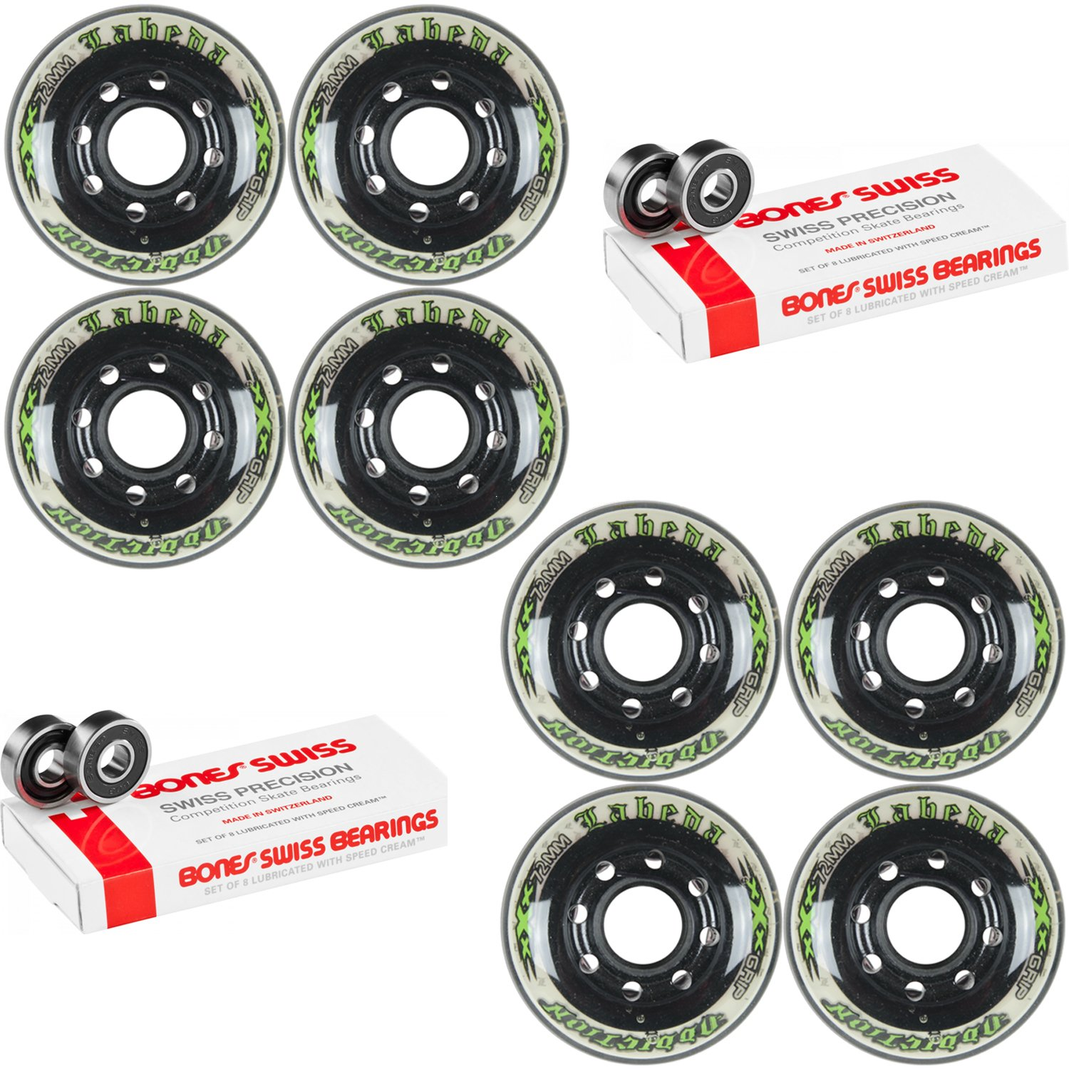 Labeda Addiction Wheels XXX Grip Black/White 72mm Roller Hockey x8 +Bones Swiss