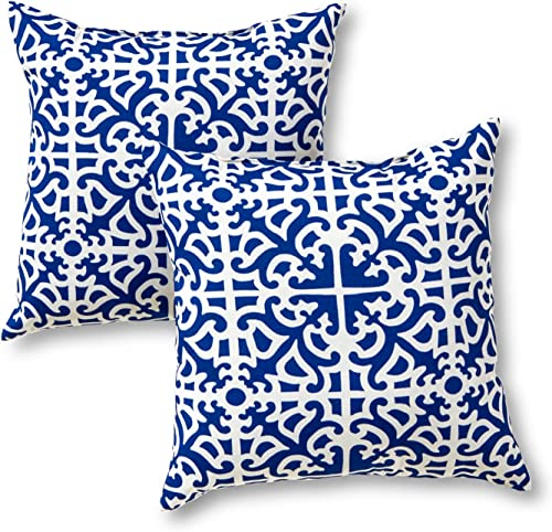 Greendale Home Fashions AZ4803S2-INDIGO Azure Outdoor 17-inch Square Throw Pillow Set of 2