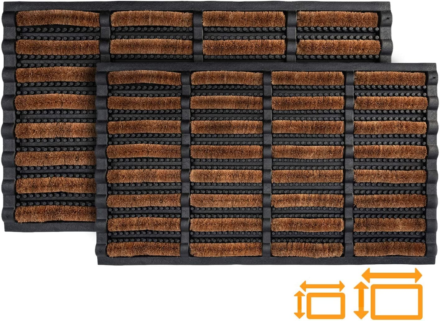 GadHome Felpudo Antideslizante Absorbente Resistente Lavable, 45x75 cm   Alfombra de Entrada de Goma y Fibra Natural con Orificios de Drenaje para Interior y Exterior   Atrapa la Suciedad: Amazon.es: Hogar