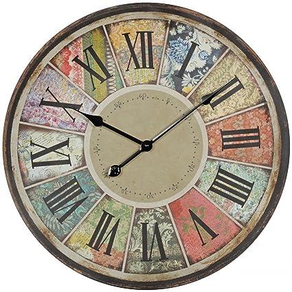 Decoración Vintage Reloj de pared XXL Diámetro 60 cm Patchwork Madera Multicolor Números Romanos | grandes