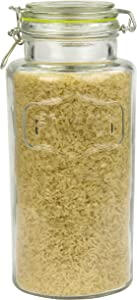 Home Basics Family Clear Food Storage (Large) Glass Canister, Cleae
