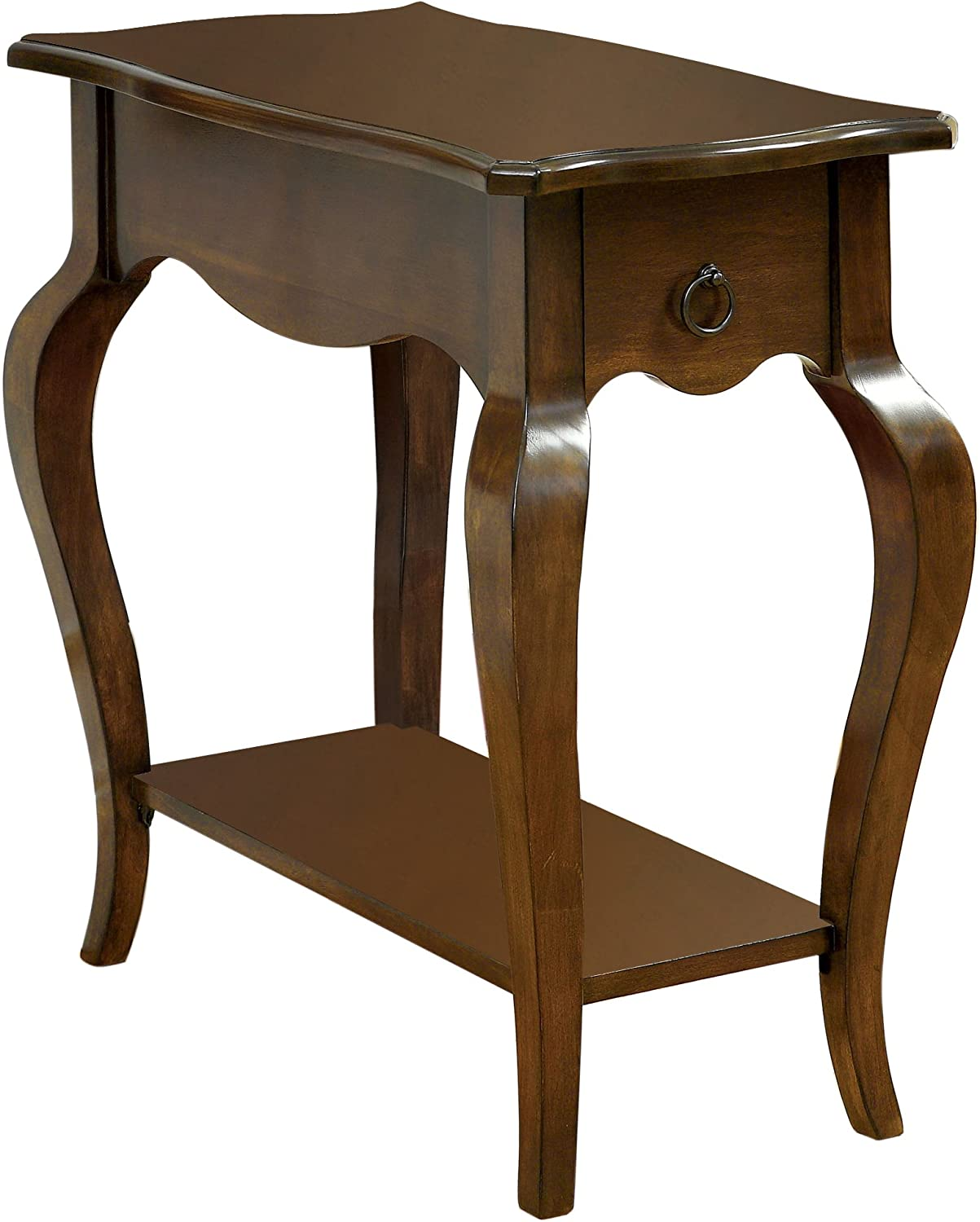 Furniture of America Rosalie Curved 1-Drawer Side Table, Tobacco Oak