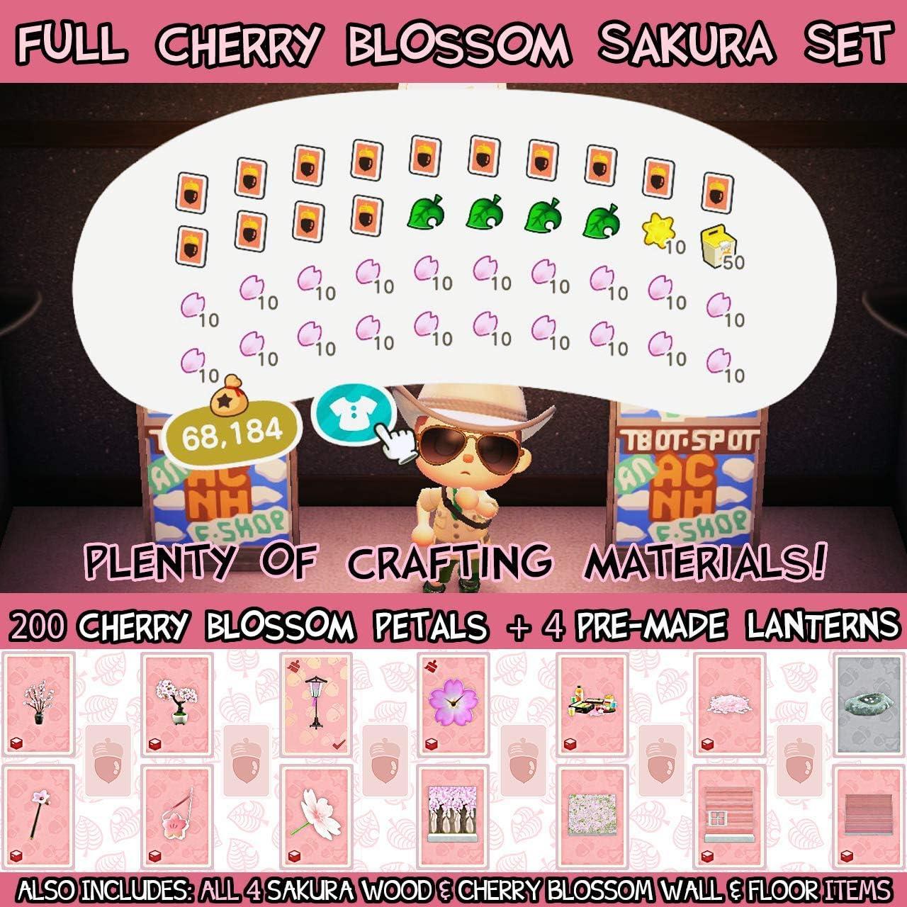 New Horizons Cherry Blossom /& Sakura Series Full DIY Set of 14 Recipes /& Plenty of Crafting Materials for Animal Crossing