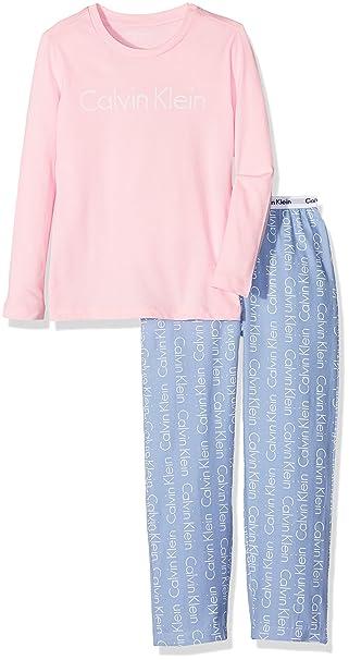 Calvin Klein Woven PJ Set (2PCS), Pijama para Niños, Rosa (Unique