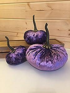 Set of 3 AMETHYST Purple Velvet Pumpkins (Small, Large, XLarge)