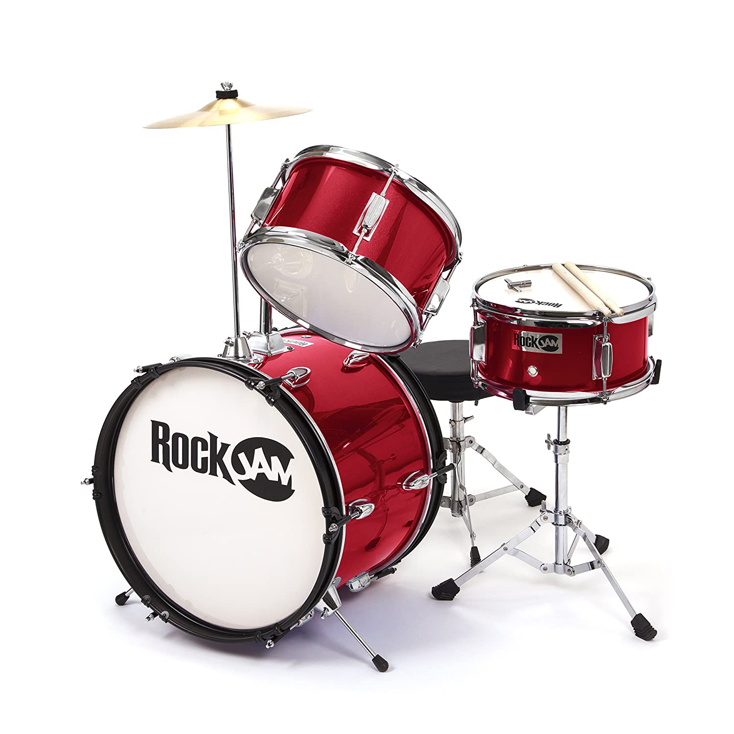 RockJam 3 Piece Junior Drum Set With Crash Cymbal Drumsticks Adjustable Throne And Accessories