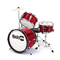 RockJam 3-Piece Junior Drum Set with Crash Cymbal, Drumsticks, Adjustable Throne and Accessories - Red
