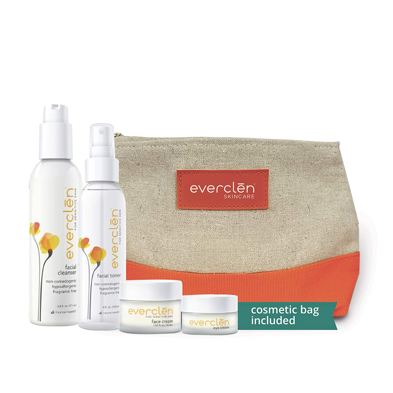 Home Health Everclen 4 Step Skincare System - 4 Product Bundle With Bonus Cosmetic Bag - Hypoallergenic Sensitive Skin Regimen - Cleanser, Toner, Facial Moisturizer, and Under Eye Cream