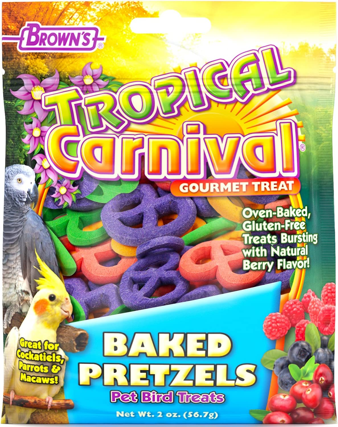 F.M. Brown's Tropical Carnival Baked Pretzels Treat for Pet Birds, 2-oz Bag - Gluten Free Chewing Treat for Cockatoos, Macaws, and Other Large Hookbills