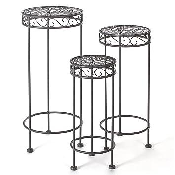 Conjunto de 3 porta plantas encajables de acero epoxi hierro forjado - Para interiores o exteriores