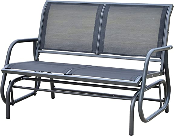 Patio Bench for 2 Person,Garden Loveseat,Rocking Seating Top Space Outdoor Swing Glider Chair 1 PC, Grey