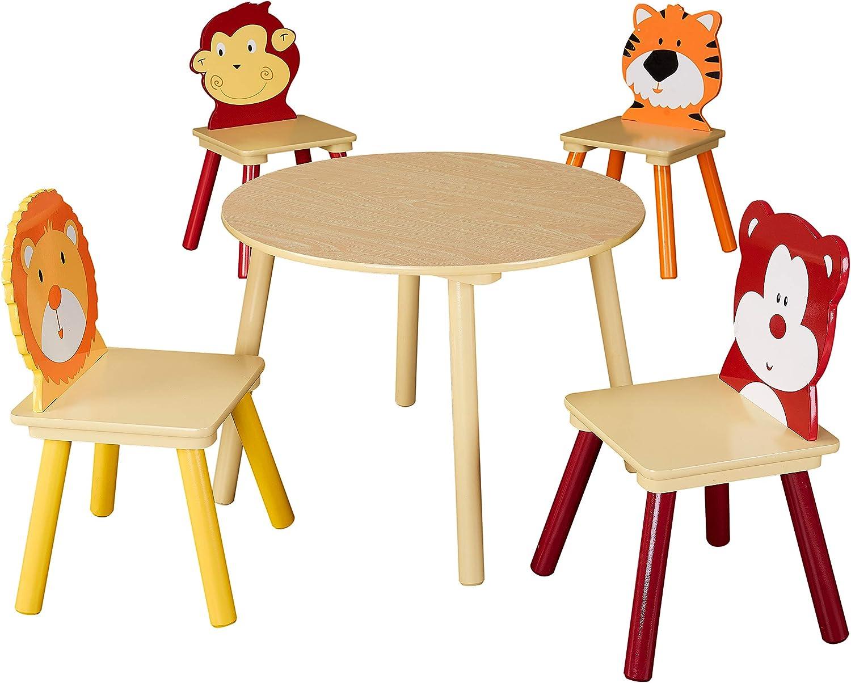 Desconocido Juego de Mesa y sillas de Madera con diseño de Animales de Senda para niños, 5 Piezas, Ideal para aulas, Salas de Arte, dormitorios Infantiles y Salas de Juegos, Natural: Amazon.es: