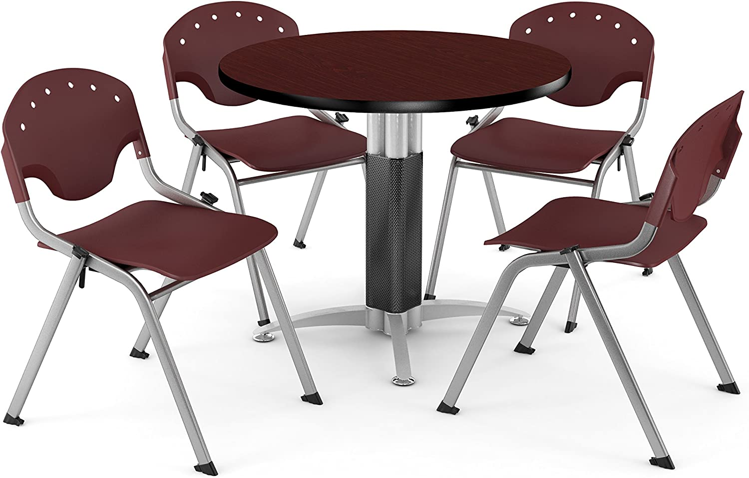 PKG-BRK-023-0015 42 Round Metal Mesh Base Multi-Purpose Table in Mahogany 4 Rico Stacking Chairs in Burgundy OFM Core Collection Breakroom Bundle