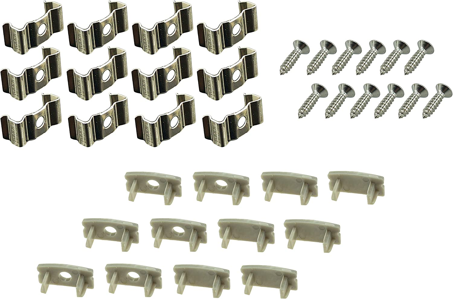 Muzata LED Channel Mounting Clips and End Caps Suit for Most U Shape Aluminum Channel in The Market,12-Pack LCU1,Series LA1