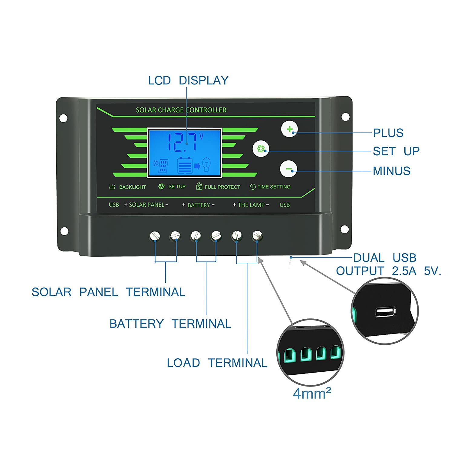 30a Solar Charge Controller Pwm 12v 24v Auto With Back 10a 12v24v Automatic Art Of Circuits Light Lcd Display 5v Dual Usb 30 Amp Regulator Charger Z30 Garden Outdoor