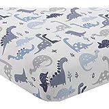 Bedtime Originals Roar Dinosaur - Sábana Bajera Ajustable para Cuna, Color Azul y Blanco