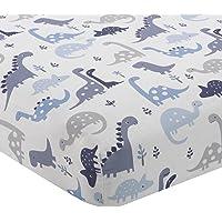 Bedtime Originals Roar Dinosaur Fitted Crib Sheet, Blue/White