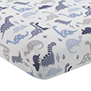 Bedtime Originals Roar Dinosaur Fitted Crib Sheet, Blue/White