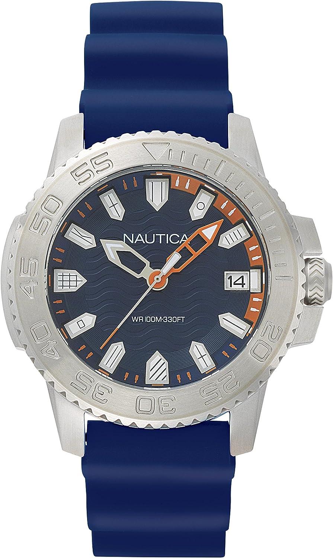 Nautica Men s Keywest Stainless Steel Japanese-Quartz Watch with Silicone Strap, Blue, 22 Model NAPKYW001