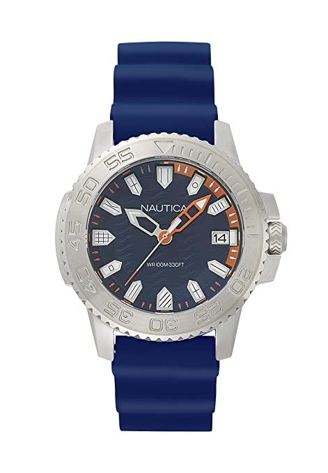 Amazon.com: Nautica Mens Keywest Stainless Steel Japanese-Quartz Watch with Silicone Strap, Blue, 22 (Model: NAPKYW001: Watches