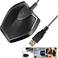 Neewer Driver-Free USB Desktop Computer Microphone - Touch Mute Button with LED Indicator, Omnidirectional Condenser Boundary Conference Mic for Recording Streaming Gaming Skype (Windows/Mac)