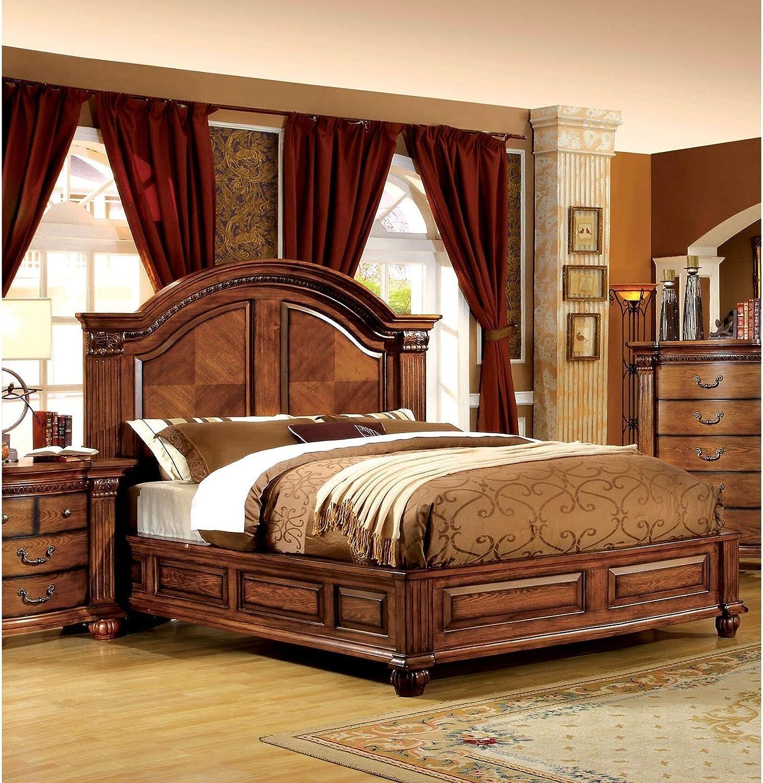 Furniture of America Platform, Queen, Oak