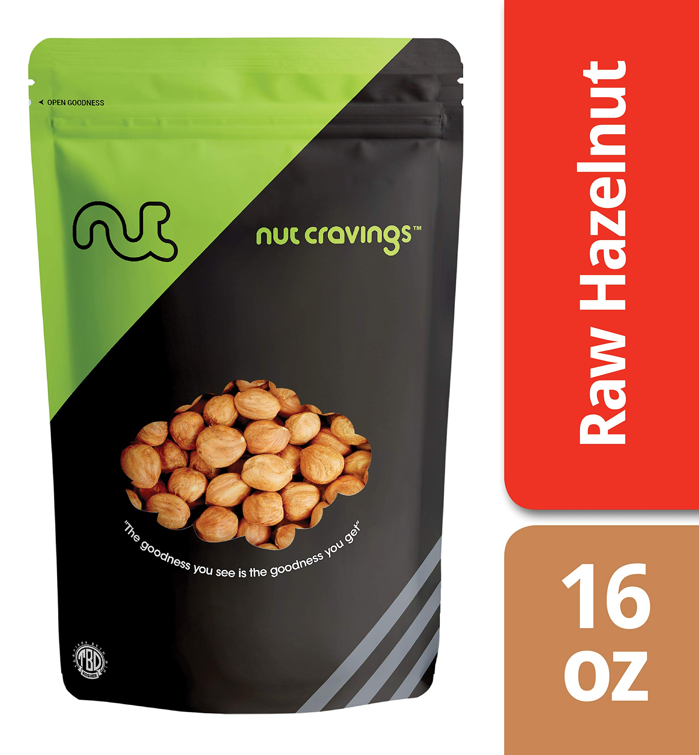 Nut Cravings - Raw Hazelnuts With Skin (1 Pound) – Gourmet Resealable Pack of Shelled Filberts – 16 Ounce