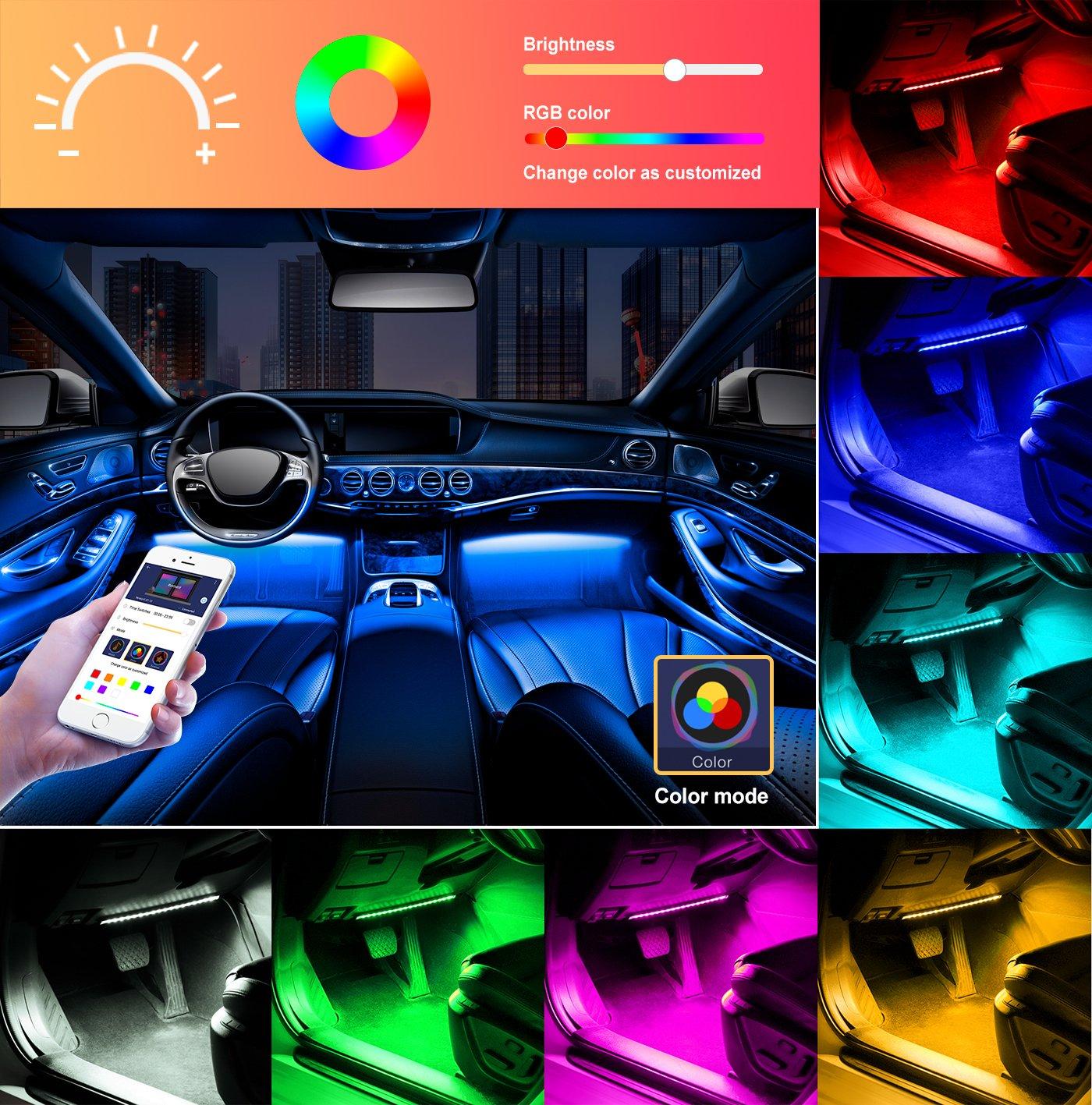 Unifilar Car LED Strip Light, Minger 4pcs 72 LED APP Controller Car Interior Lights, Waterproof Multicolor Music Under Dash Lighting Kits for iPhone Android Smart Phone, Car Charger Included, DC 12V by MINGER (Image #4)
