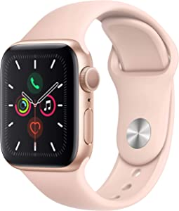 Apple Watch Series 4 (GPS, 44MM) - Gold Aluminum Case with Pink Sand Sport Band (Renewed)